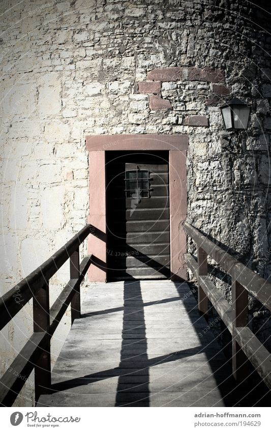 no way back Bridge Tower Door Old Historic Brown Gray Fortress Fortress Marienberg Würzburg Colour photo Exterior shot Castle