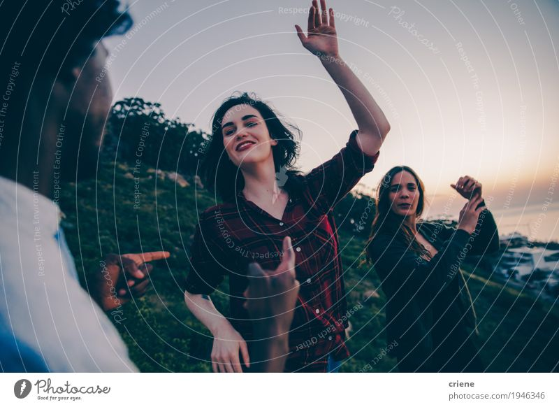 Group of young adult hipster friends dancing in sunset Human being Youth (Young adults) Young woman Young man Joy Lifestyle Feminine Party Group Together Friendship Masculine Happiness Dance Smiling Relationship