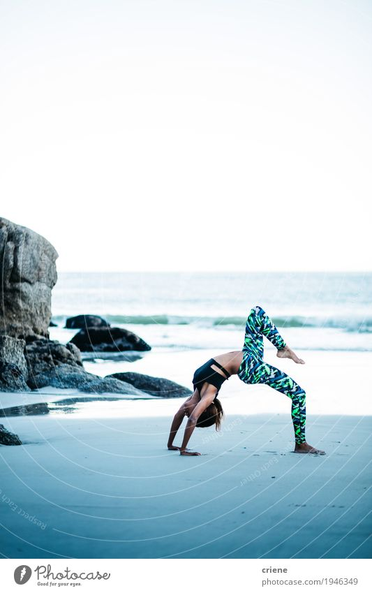 Young women doing yoga pose on beach in the morning Human being Woman Youth (Young adults) Young woman Ocean Beach Adults Life Lifestyle Sports Healthy Feminine Leisure and hobbies Waves Body Fitness