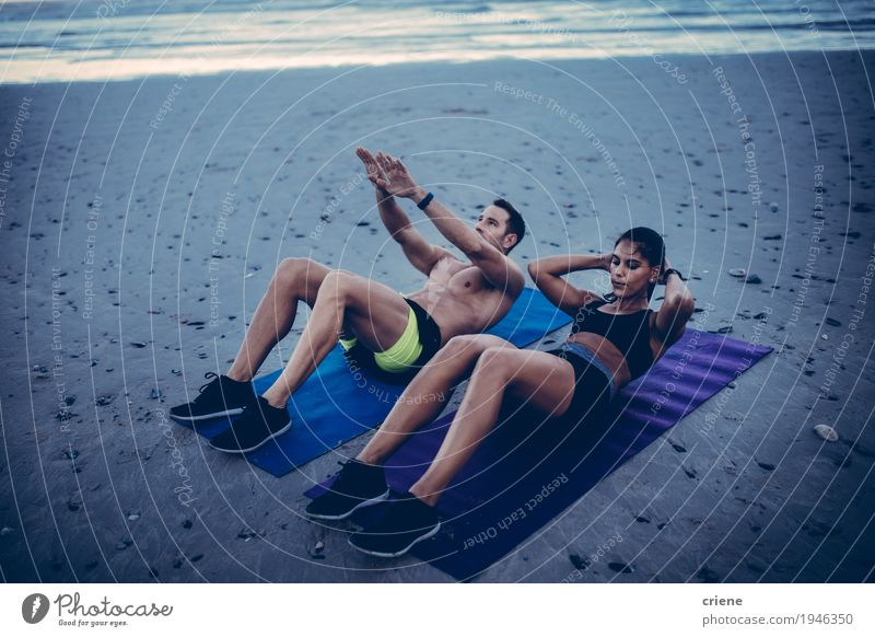 Young adult couple doing fitness workout on beach Human being Youth (Young adults) Young woman Young man Ocean Joy Beach Adults Lifestyle Sports Couple Sand Together Friendship Leisure and hobbies Smiling