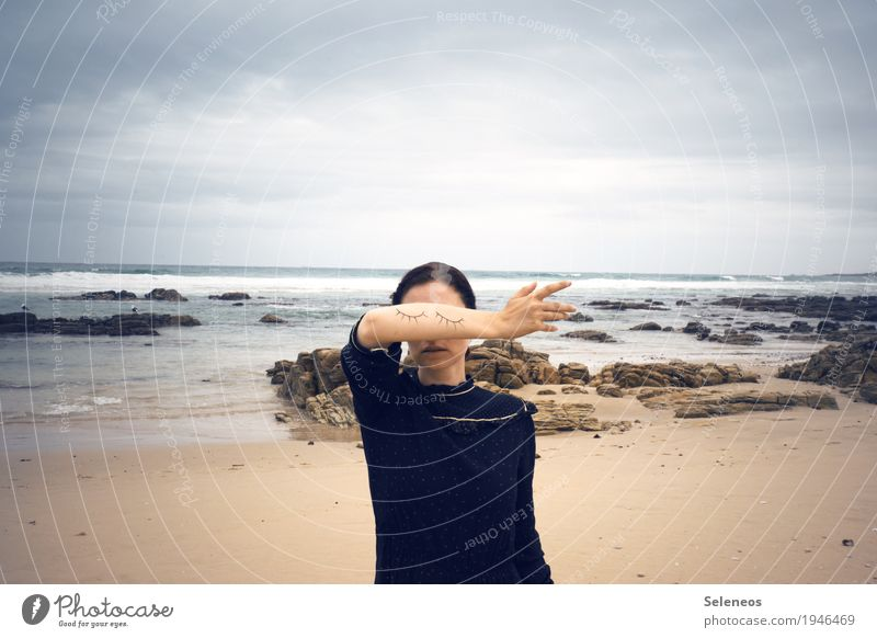blind spot Senses Calm Meditation Beach Ocean Human being Feminine Woman Adults Eyes Arm Hand 1 Horizon coast Dream Secrecy Blind Closed Colour photo