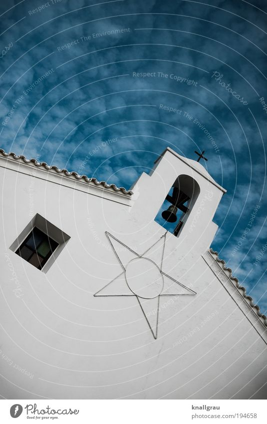 Bell with star and window Village Religion and faith Church Bell tower Church spire Star (Symbol) Sky Clouds Window Roof Skyward Village church Prayer