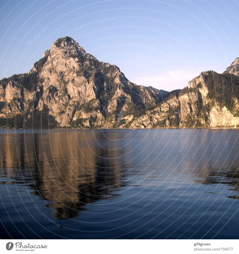 oversized puddle picture Environment Nature Landscape Water Sky Summer Rock Mountain Peak Lakeside Body of water Austria Federal State of Upper Austria