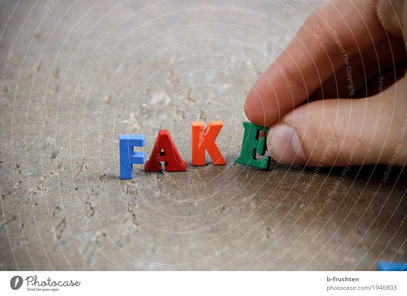 falsification Business Fingers Wood Sign Characters Build Reading Multicoloured fake Fraud Truth Postal fact Politics and state Journalism Media Word