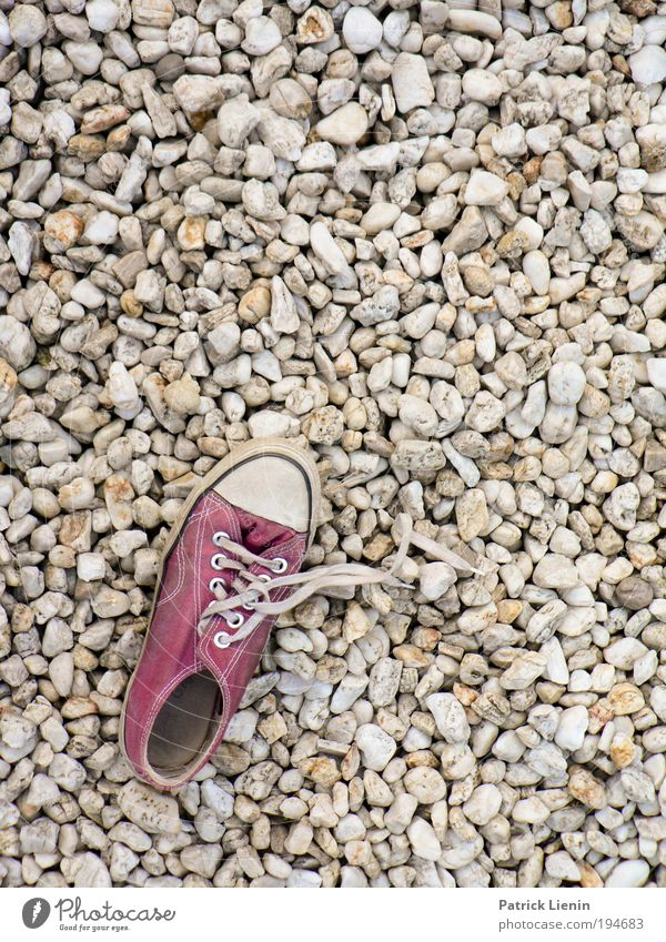 shoe missed! Stone Walking Footwear Shoelace Pattern Terrace Loneliness Search Find Maximum Round Structures and shapes Mosaic Deserted Copy Space right