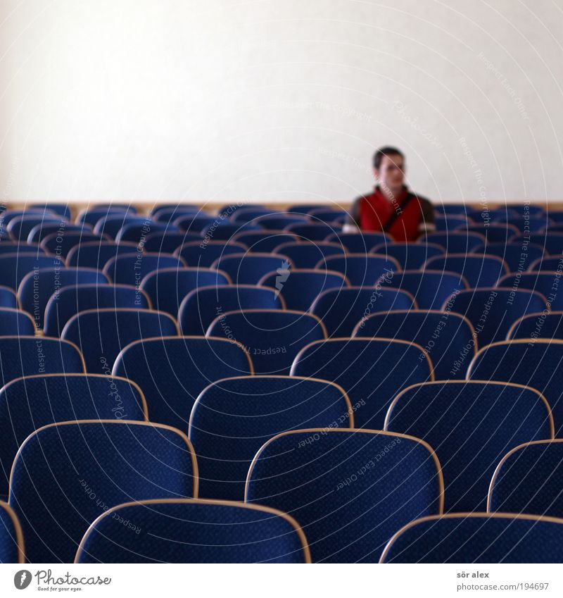 Human being Man Red Calm Loneliness Adults Sadness Brown Sit Wait Masculine Gloomy Chair Longing Sweater Lovesickness