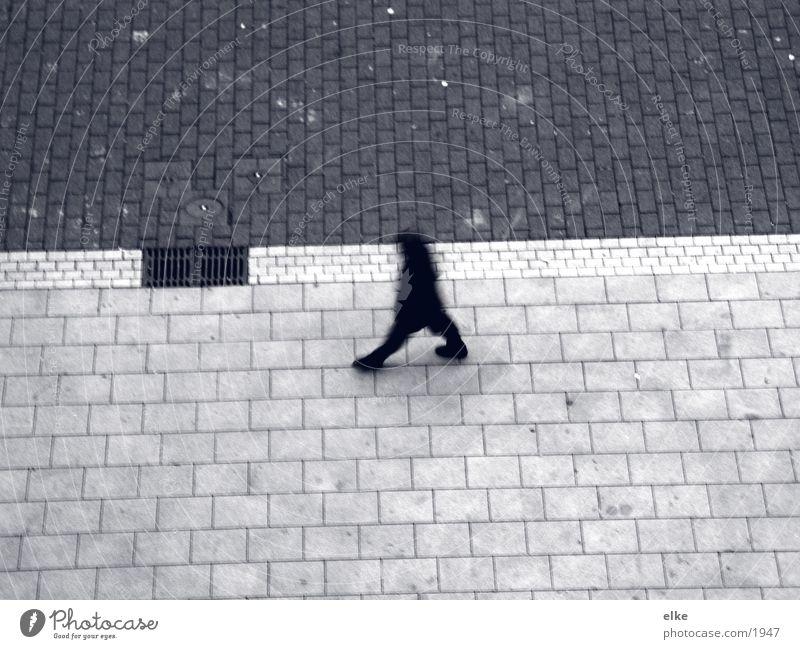 one step ahead Man Human being Walking Cobblestones
