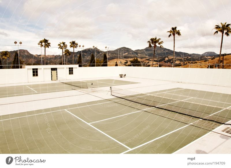 Wanna play tennis? Tennis court Clouds Beautiful weather Rock California Tourist Attraction Hearst Castle Playing Sports Yellow Green Calm Wanderlust Relaxation