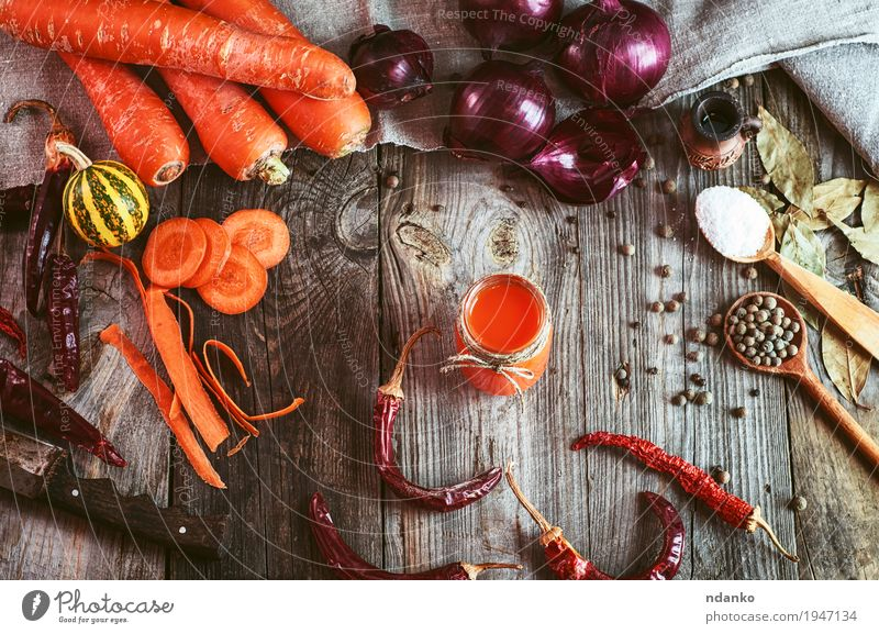 Fresh vegetables and a glass of carrot juice Vegetable Fruit Herbs and spices Vegetarian diet Diet Beverage Juice Glass Table Nature Wood Old Healthy Delicious