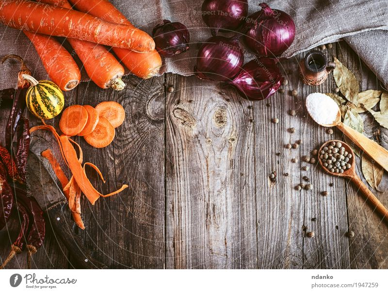 Fresh raw vegetables and spices on gray wooden surface Old Red Eating Natural Healthy Gray Orange Nutrition Table Herbs and spices Delicious Vegetable Top