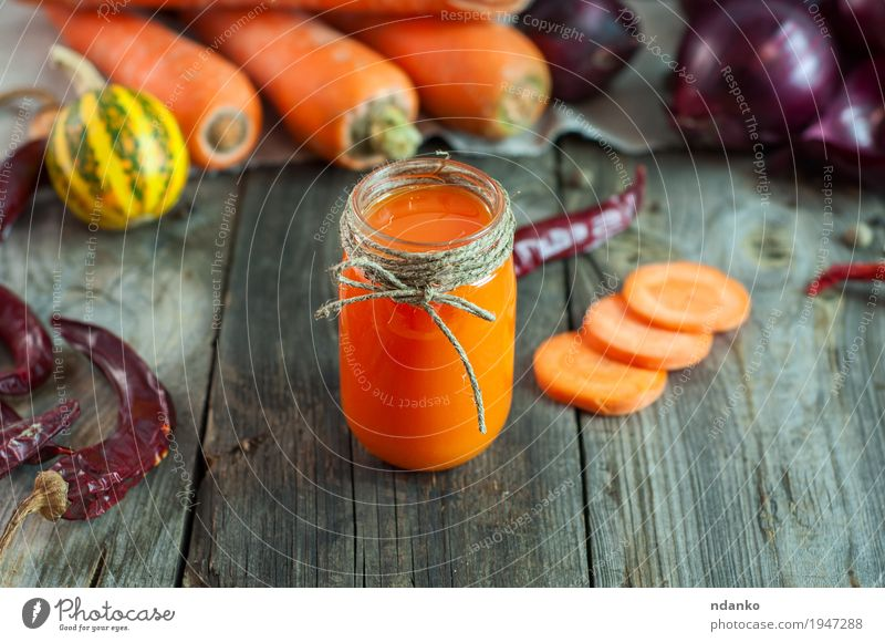 Carrot juice in a transparent little jar Vegetable Fruit Herbs and spices Nutrition Vegetarian diet Beverage Juice Table Financial institution Rope Old Eating
