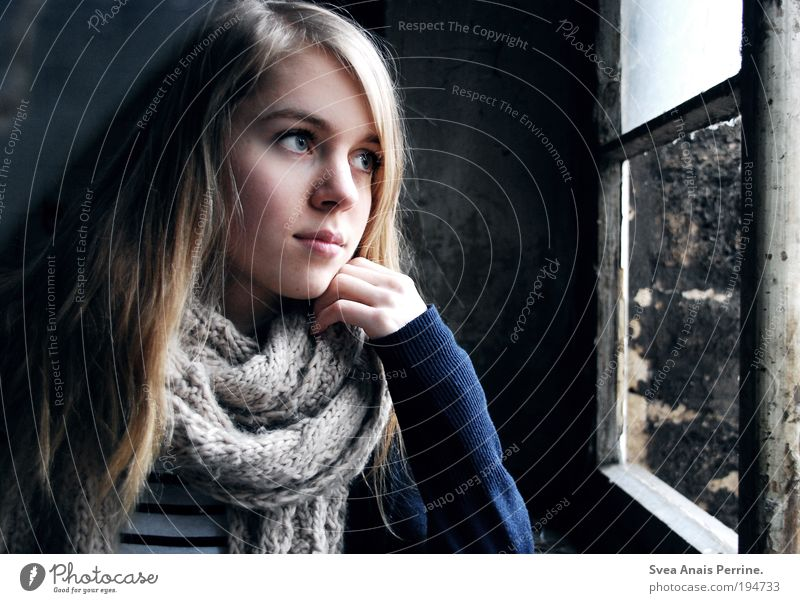 . Feminine Young woman Youth (Young adults) Eyes Hand 1 Human being Wall (barrier) Wall (building) Facade Shirt Scarf Blonde Long-haired Think Looking Dream