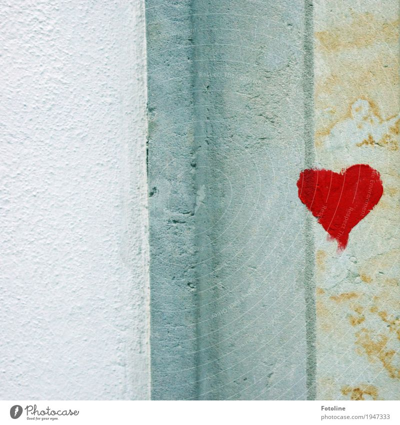 A heart for YOU! Stone Concrete Sign Graffiti Heart Gray Red White Wall (barrier) Wall (building) Sincere Colour Art Colour photo Multicoloured Exterior shot