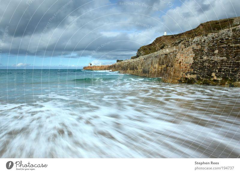 Sea motion long exposure, Portreath. Nature Sky White Ocean Blue Clouds Movement Stone Landscape Coast Horizon Hill Jetty England To break (something) Surf
