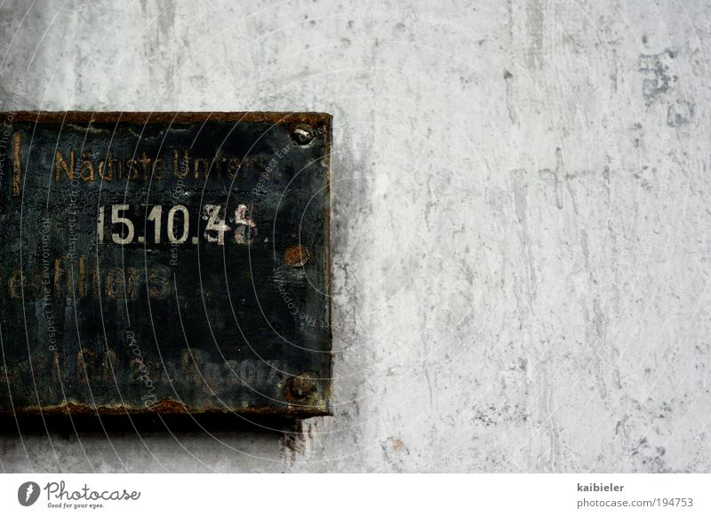 Old Gray Metal Signs and labeling Characters Digits and numbers Transience Decline Past Rust Signage Machinery Time Date Stagnating