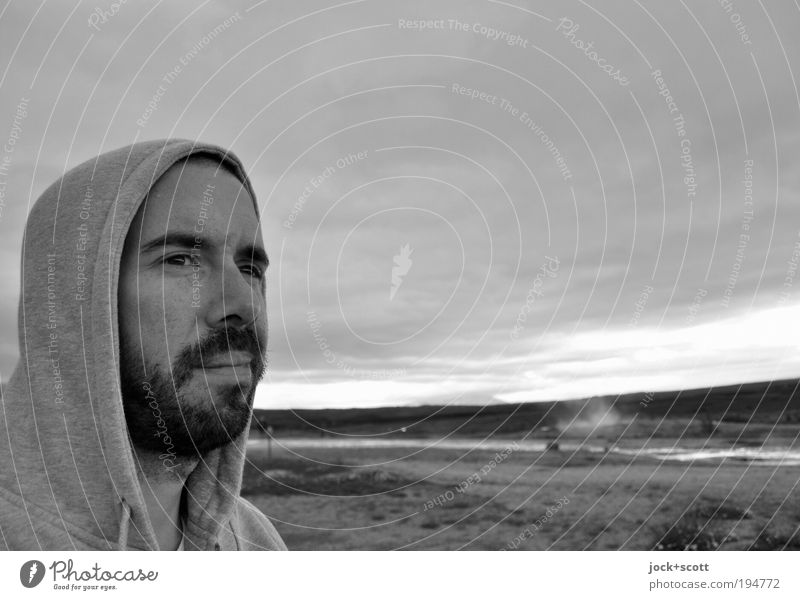 Major & Minor Freedom Man Face Facial hair 1 30 - 45 years Landscape Clouds Iceland Hooded jacket Beard Looking Far-off places Longing Relaxation Face of a man