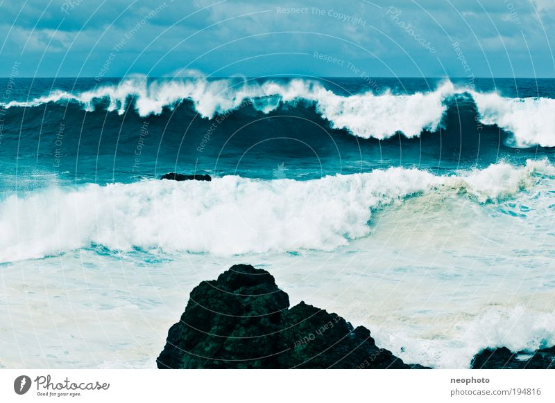 Rock in the surf Nature Elements Earth Water Sky Gale Atlantic Ocean Island Fear Blue Surf Waves Massive Unwavering Strong Safety Colour photo Multicoloured