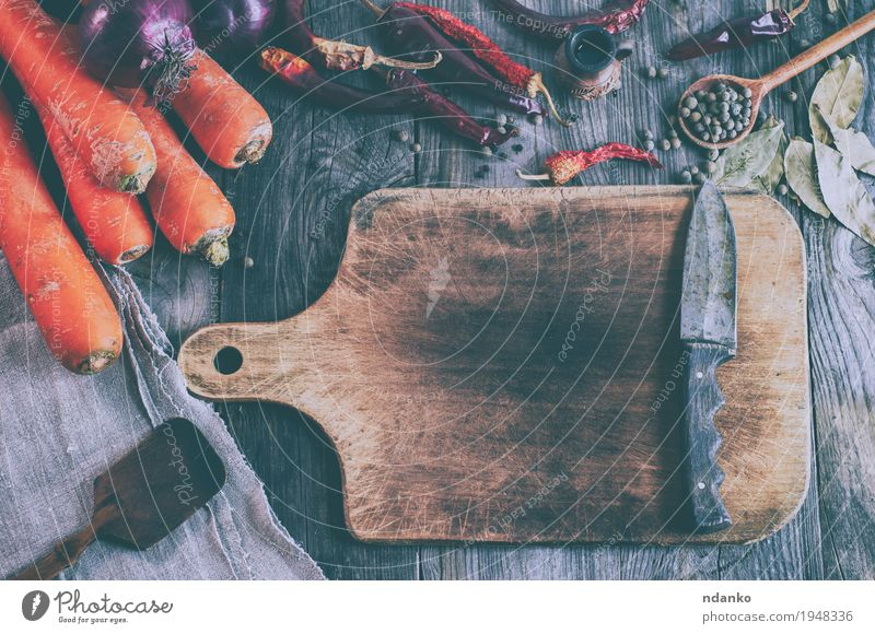Empty brown cutting board with a knife Old Red Autumn Natural Wood Health care Gray Orange Fruit Nutrition Fresh Table Herbs and spices Kitchen Delicious