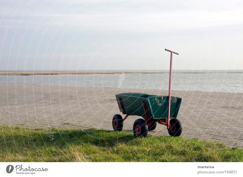 handcart Leisure and hobbies Summer Summer vacation Sun Island Moving (to change residence) Clean Blue Joy Spring fever Anticipation Movement Freedom Creativity