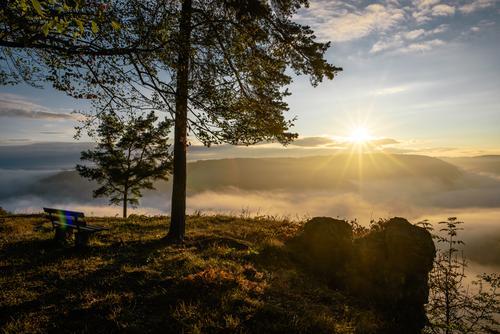 Sky Nature Plant Sun Tree Landscape Relaxation Clouds Calm Environment Autumn Freedom Tourism Rock Contentment Fog