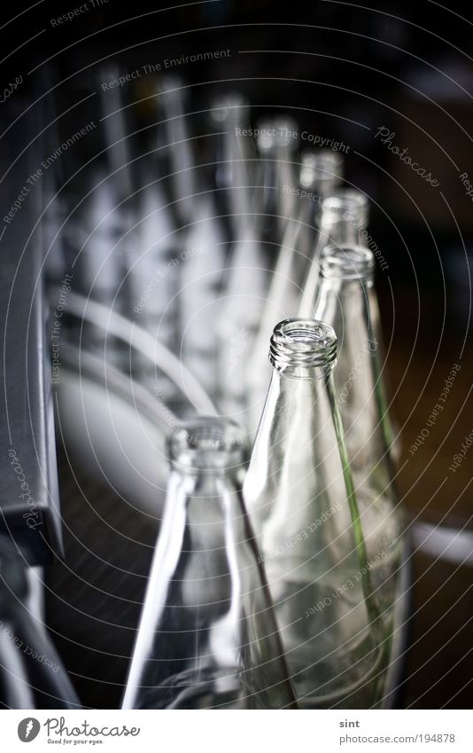 message in a bottle Beverage Drinking water Lemonade Juice Bottle Industry Conveyor belt assembly line Glass Cold Clean Advancement Trade Modern Precision