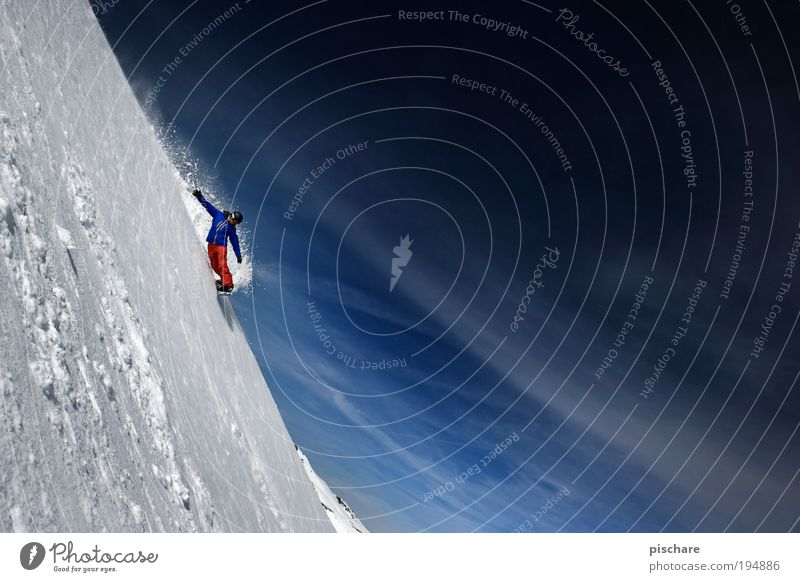 Human being Sky Nature Landscape Joy Winter Mountain Snow Sports Exceptional Freedom Masculine Leisure and hobbies Esthetic Threat Beautiful weather
