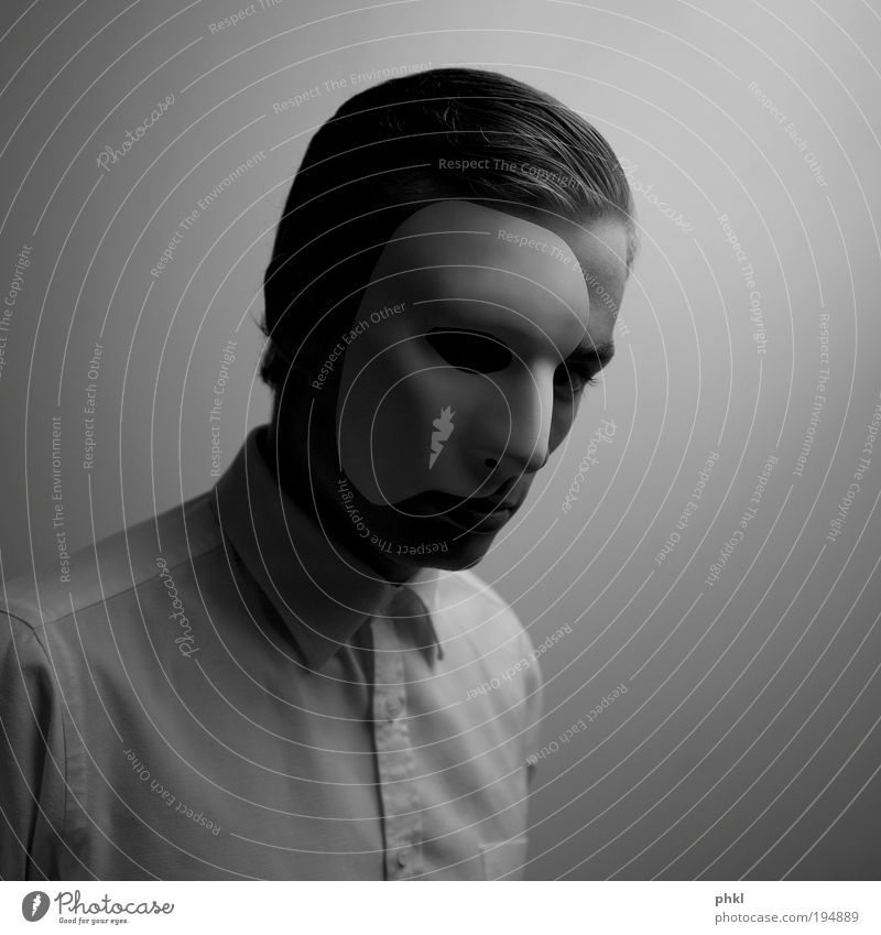 Man with mask Elegant Face Human being Masculine Young man Youth (Young adults) Head Hair and hairstyles Part Observe Looking Beautiful Gloomy Black Silver