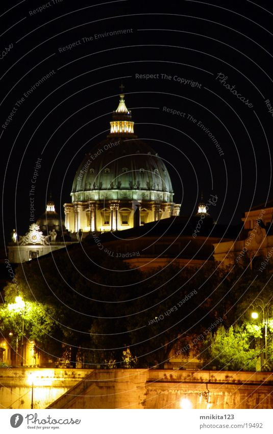 Europe Rome Night shot Vatican St. Peter's Cathedral