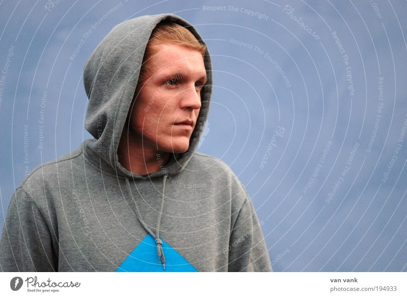 only blue is true Lifestyle Masculine Young man Youth (Young adults) 18 - 30 years Adults Artist Musician Sweater Cloth Hooded (clothing) Red-haired