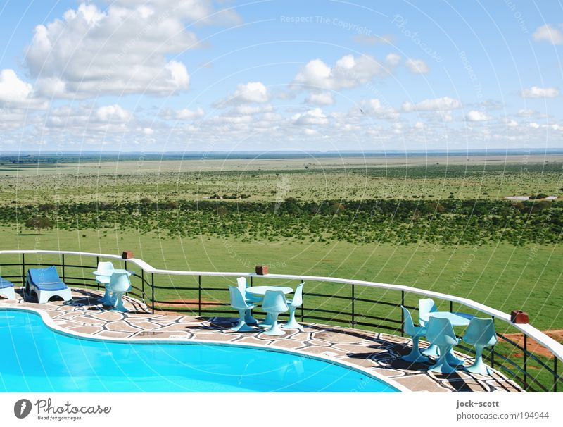 Sky Water Landscape Clouds Far-off places Warmth Stone Horizon Elegant Design Vantage point Table Beautiful weather Infinity Handrail Chair