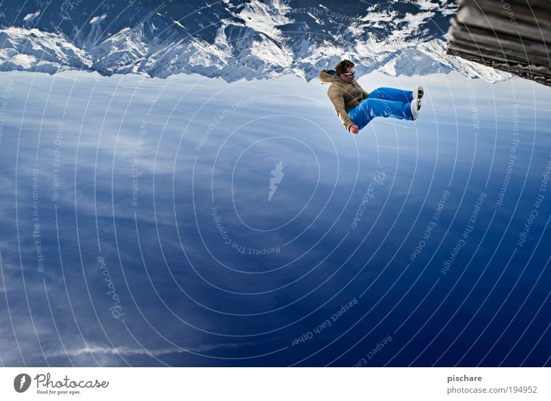 Human being Sky Nature Blue Vacation & Travel Winter Adults Landscape Mountain Snow Freedom Jump Masculine Tourism Crazy Adventure