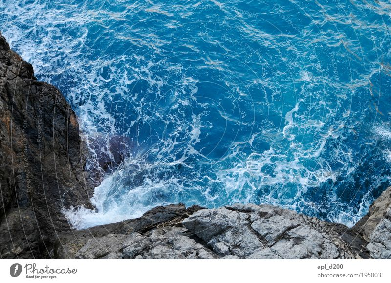Dangerous surf Environment Nature Elements Water Summer Beautiful weather Coast Lakeside Bay Ocean Mediterranean sea Deserted Touch Esthetic Exceptional Threat