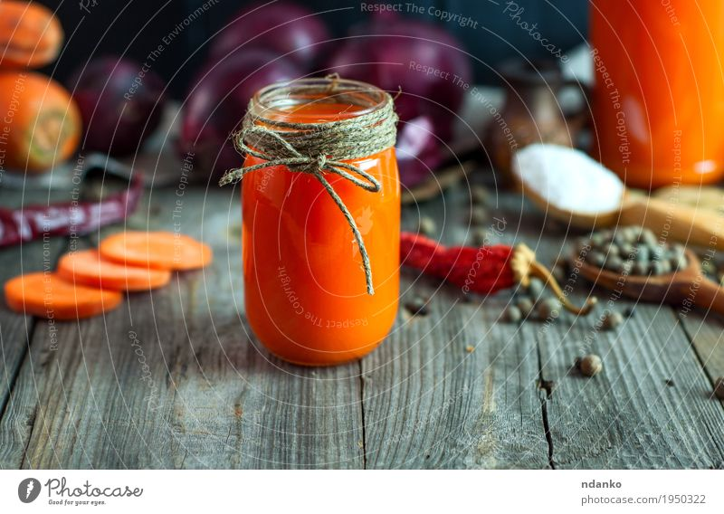 Fresh carrot juice in a glass jar Old Red Black Eating Natural Health care Gray Orange Nutrition Table Rope Herbs and spices Beverage Delicious Vegetable