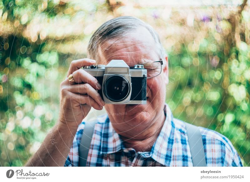 older hipster man with a old vintage camera Human being Joy Adults Lifestyle Style Happy Art Adventure Father Artist