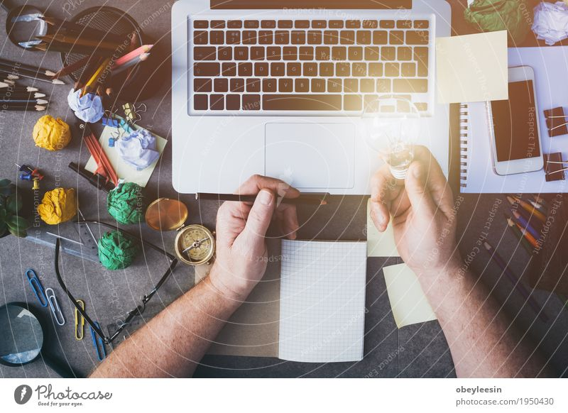 Man working at home Lifestyle Style Design Save Handcrafts Human being Adults 1 Art Artist Study Love Colour photo Multicoloured Close-up Detail