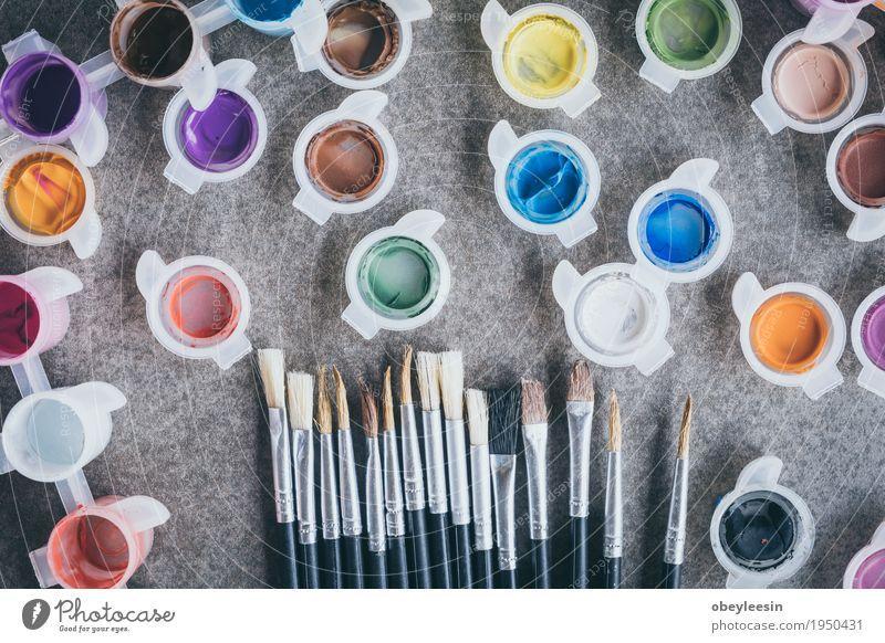 paint brush on old table Lifestyle Style Design Joy Art Artist Colour photo Multicoloured Studio shot Close-up Detail