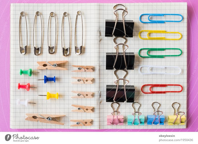 Pins and paper clips collection, pink background Lifestyle Style Art Design Adventure Artist