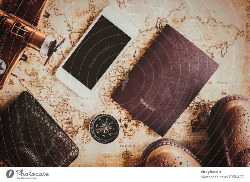 Overhead view of Traveler's accessories Lifestyle Style Art Design Adventure Artist
