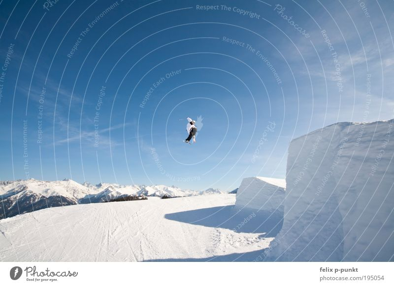 Human being Sky Blue White Winter Joy Clouds Mountain Jump Air Masculine Success Beautiful weather Rotate Glacier Freestyle