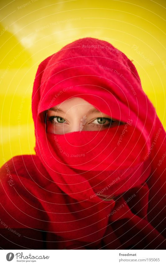 Human being Beautiful Red Eyes Yellow Feminine Islam Dream Safety Protection Mysterious Exceptional Face Watchfulness Respect