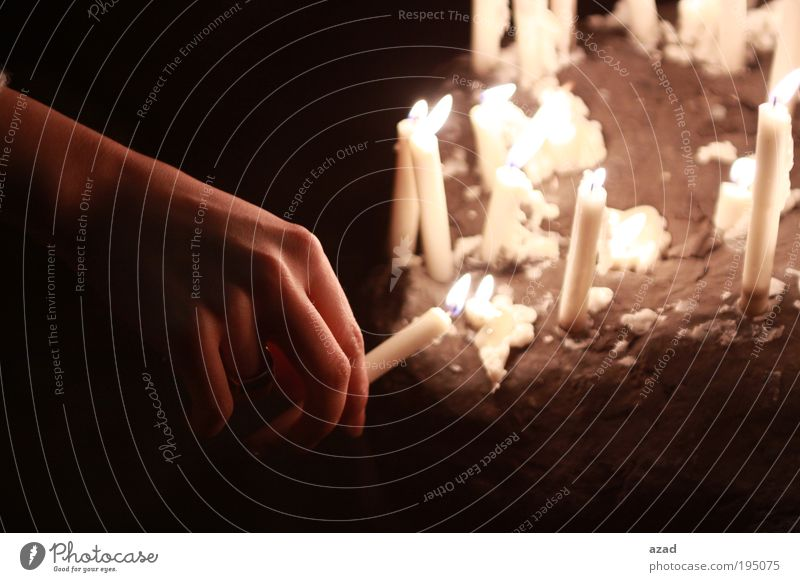 hand & candles Hand 18 - 30 years Youth (Young adults) Adults Ring Candle Stone End To enjoy Hope Cold Culture Beautiful Sadness Desire Colour photo