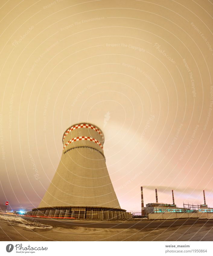Thermal power plant and cooling tower at night Town Landscape Clouds Winter Dark Environment Snow Building Energy industry Modern Technology Industry Factory