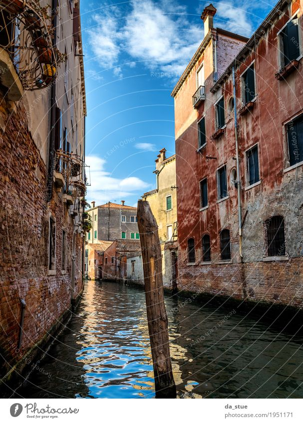 Canal in Venice Water Clouds Beautiful weather Italy Europe Town Downtown Old town House (Residential Structure) Bridge Manmade structures Building Architecture