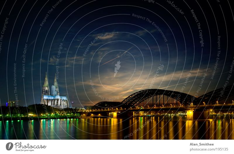 Sky City Moody Germany Europe Bridge River Night sky Cologne Skyline Landmark Panorama (Format) North Rhine-Westphalia Tourist Attraction Night shot