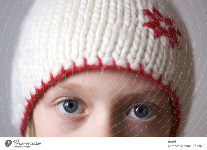 Not without my hat. Feminine Girl Infancy Head Eyes 1 Human being 8 - 13 years Child Cap Looking Natural Cute Safety Protection Safety (feeling of) Uniqueness
