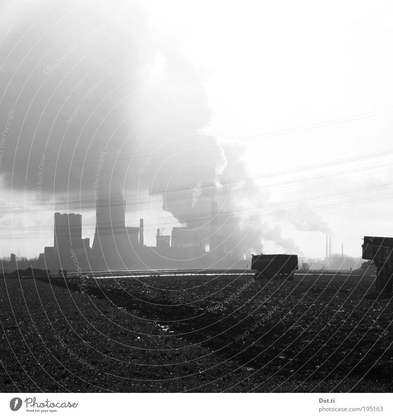 Sky Clouds Landscape Air Field Environment Earth Energy industry Electricity Industrial plant Environmental pollution Climate change Carbon dioxide Silhouette Air pollution Emission