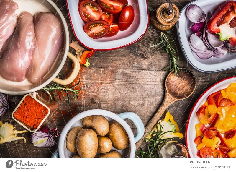 Chicken meat, vegetables and cooking spoons and spices Food Meat Vegetable Herbs and spices Nutrition Lunch Dinner Organic produce Diet Crockery Bowl Pot Spoon