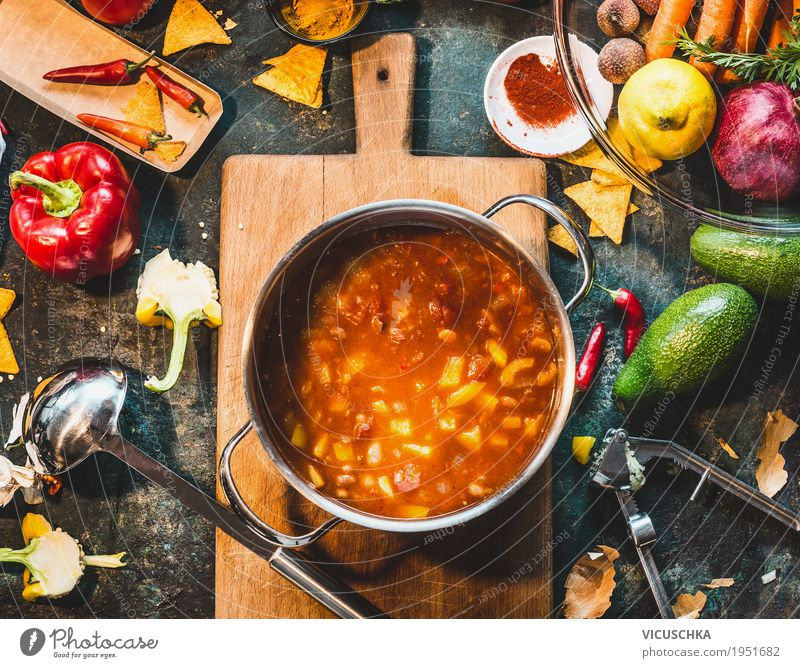 Mexican cooking Food Vegetable Soup Stew Herbs and spices Nutrition Lunch Dinner Organic produce Vegetarian diet Diet Crockery Pot Spoon Style Design Healthy