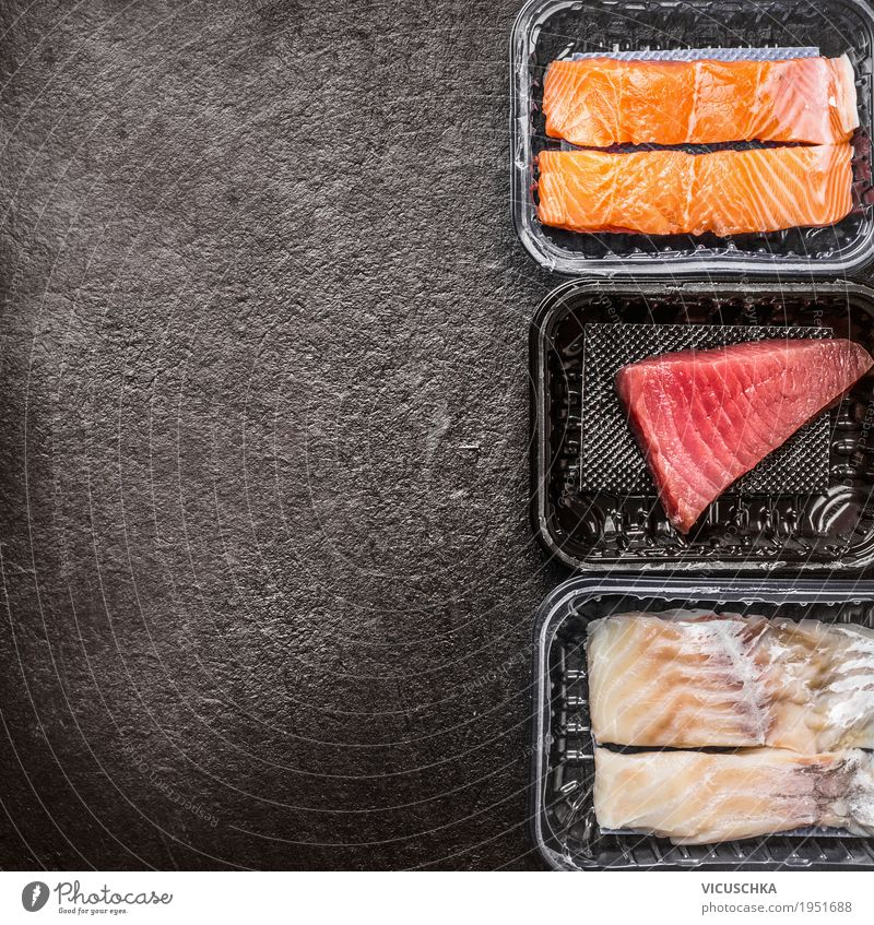 Various raw fish fillets: salmon, tuna and codfish Food Fish Nutrition Organic produce Vegetarian diet Diet Style Design Healthy Eating Table Kitchen
