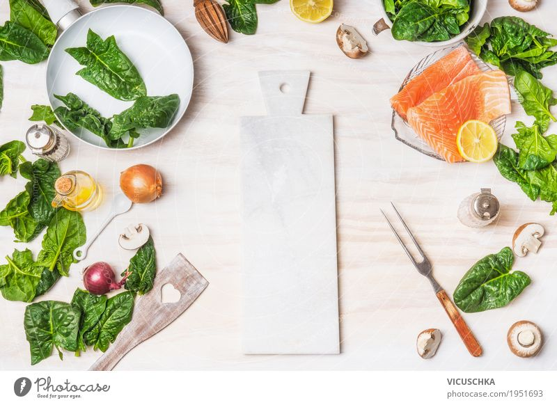 Healthy diet food with spinach leaves and salmon Food Fish Vegetable Herbs and spices Cooking oil Nutrition Lunch Organic produce Vegetarian diet Diet Crockery